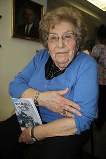Holocaust survivor Ruth Scheuer Siegler, 86, displays the tattooed identification number she received while imprisoned at Auschwitz, where her parents and brother were tragically killed. Siegler said she has always felt very welcomed by the Birmingham community. Photo by Jordyn Taylor.